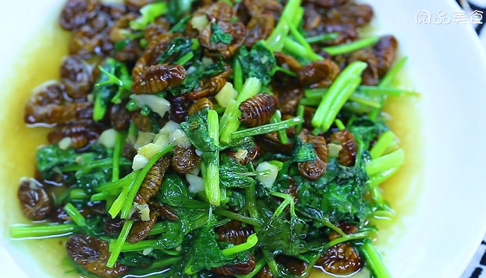 香菜炒蚕蛹做法步骤:7